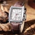 Top marca de luxo Casual pulseira de couro relógios dos homens de quartzo de função cronógrafo relógio homem dos esportes relógio de pulso Relogio Masculino