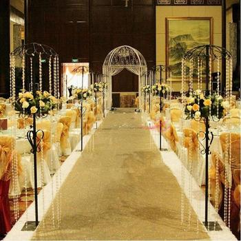 Online shop 36m wedding party ice silk fabric drapery white 10 m per roll fashion gold pearlescent wedding carpet t station aisle runner for wedding decoration junglespirit Images