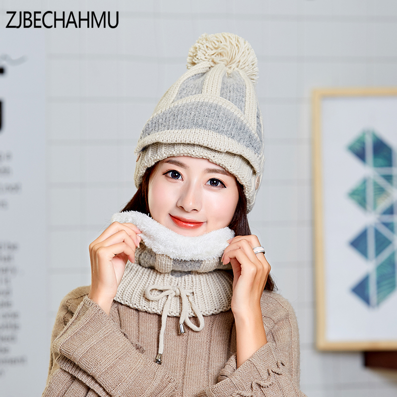 Casual Pompom Winter Hat Female Balaclava Knitted Scarf And Hat
