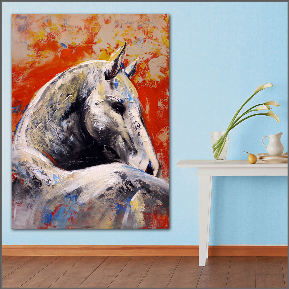 large size Printing Animal horse white wall Art Picture Home Decor Living Room Modern Canvas Print Paintings no frames