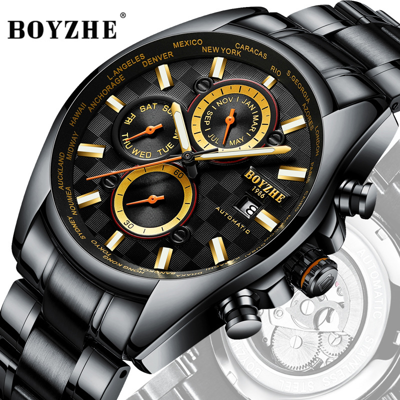 BOYZHE Watch Men Luxury Waterproof Mechanical Watches Self Wind Multi-functional Mechanical Movement Fashion Business Steel BOYZHE Watch Men Luxury Waterproof Mechanical Watches Self Wind Multi-functional Mechanical Movement Fashion Business Steel