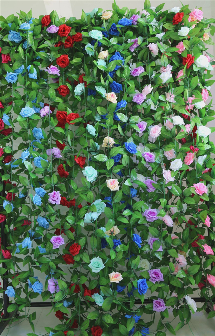 Home & Garden Artificial & Dried Flowers 245cm Long Artificial Silk Flower Vine 16 Colors Roses Flower Rattan Plants Leaves Home Wall Garden Wedding Decoration Supplies