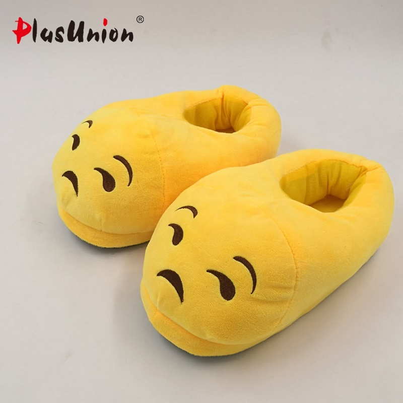 adult cute flock flat cartoon winter indoor furry slippers unisex fluffy emoji shoes house for women cosplay costumes plush emoji slippers women cute indoor warm shoes adult plush slipper winter furry house animal home cosplay costumes autumn pantoufle