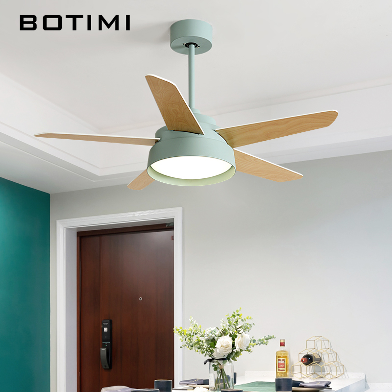 BOTIMI Nordic 220V Ceiling Fan For Living Room 42 Inch Ventilador De Techo Ceiling Fans With Light Remote Function Cooling Lamps