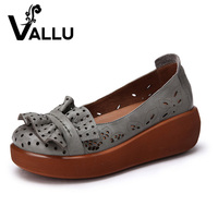2017 Spring Women Shoes Genuine Leather Flat Platform Flower Cut Out Comfortable Handmade Women Shoes