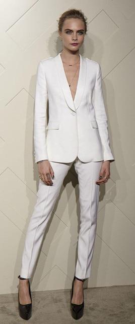 b2814fccbc Trajes de mujer blancos esmoquin chal solapa para mujer moda personalizada  un botón negocios mujeres trajes