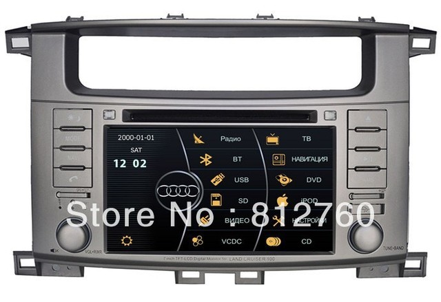 "7"" Car DVD Player for Toyota Land Cruiser/ Landcruiser 100 with GPS Navigation,Bluetooth,TV,V-CDC,RDS,3G USB Host, Free shipping"