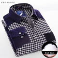 U&SHARK Winter Warm Plaid Casual Shirt Men Long Sleeve Flannel Shirts Velvet Fashion Thick Duck Down Male Shirt Chemise Homme