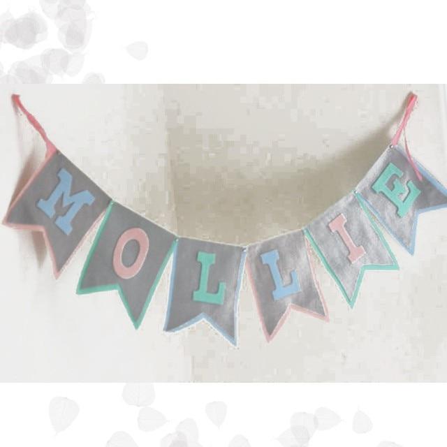 Us 10 28 Custom Baby Douche Grijs Banner Gepersonaliseerde Baby Naam Bunting Brief Verjaardag Slingers Kids Party Decoraties Nursery Home Vlag In