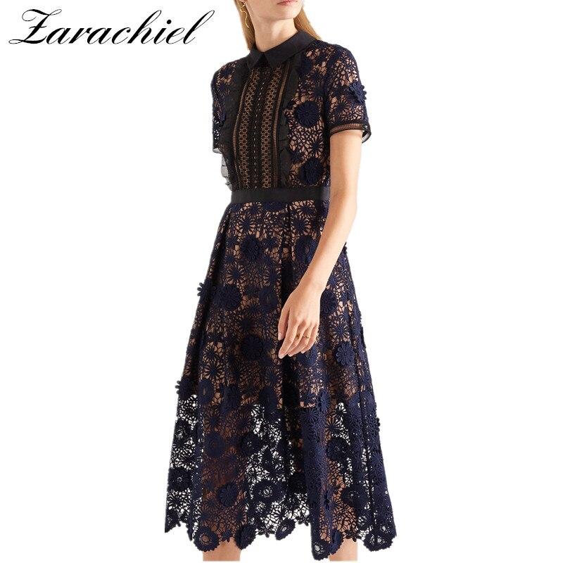 Zarachiel Self Portrait Water Soluble Lace Dress 2019 Summer Women Full Flower Embroidery Hollow out Frill