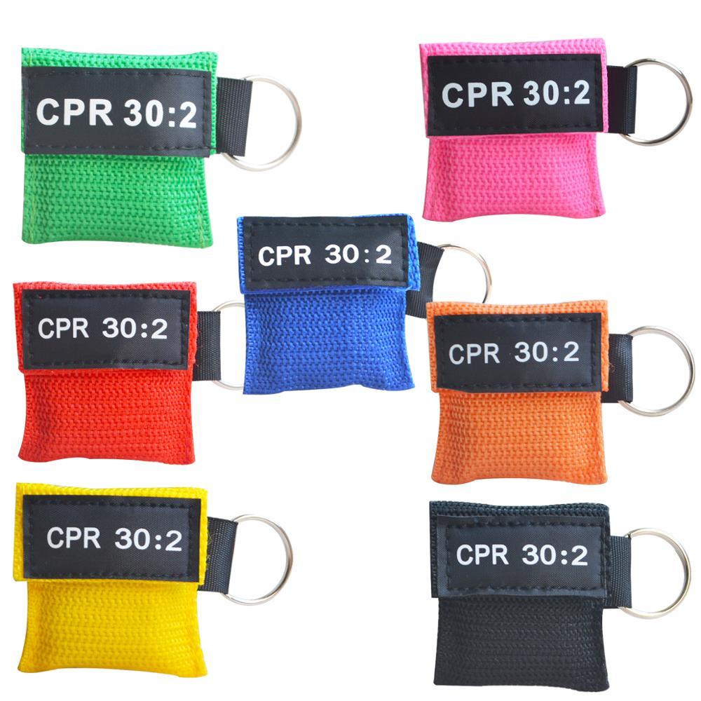 100 sztuk 30: 2 resuscytatora CPR maska z kieszonkowy brelok pierwszej pomocy szkolenia umiejętności osłona twarzy w jedną stronę zawór Emergency Survive narzędzie w Maski od Uroda i zdrowie na  Grupa 1