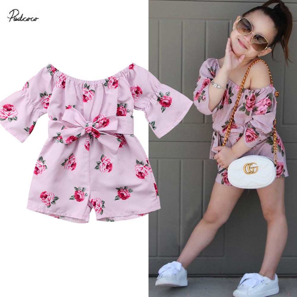 6M-5Y Floral Toddler Kids Baby Girl Off shoulder Bow Romper Jumpsuit Outfits Summer Princess Flower Clothes