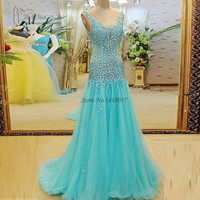 Robe de Soiree 2017 Longue Long Dresses Evening Gowns Crystals Turquoise Prom Dresses V Neck Rhinestones Party Dress Formatura