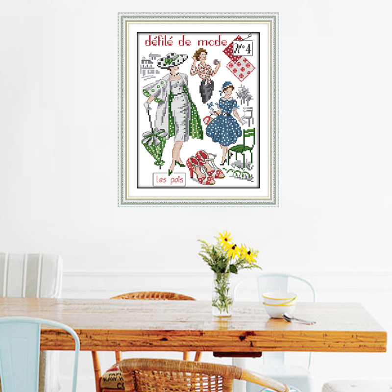 Happy Sunday,Fashion models, Cross Stitch Embroidery Set, Printed Embroidery Set,Needlework, embroidery cross stitch patterns (2)