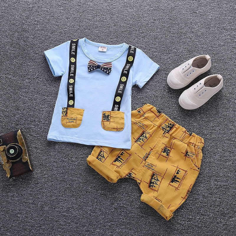 Одежда для маленьких мальчиков, летняя детская одежда с героями мультфильмов, новинка 2018 года, милые детские хлопковые комплекты, одежда для маленьких мальчиков, костюмы, комплект одежды для малышей