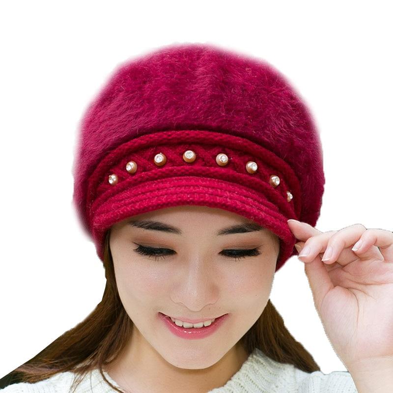 Dressy Women s Hats Winter Beanie for Female Gorros Skullies   Beanies High  Quality Rabbit Fur Ladies Rhinestone Soft Caps-in Skullies   Beanies from  ... ee27f30ac2d