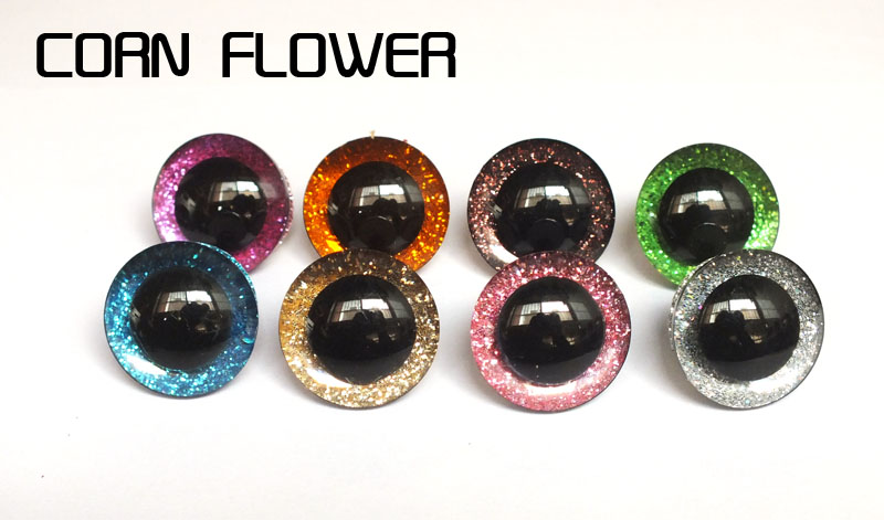 16-25mm Plastic Clear Safety Toy Eyes + Glitter Nonwovens For Diy Doll Materials-8 Color Can Choose