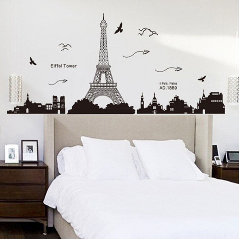 Aliexpress.com : Buy Black PVC Eiffel Tower Wall Stickers Wall Hangings  Living Room Bedroom Background Decoration Home Decor 185 Cm * 70 Cm From  Reliable ...