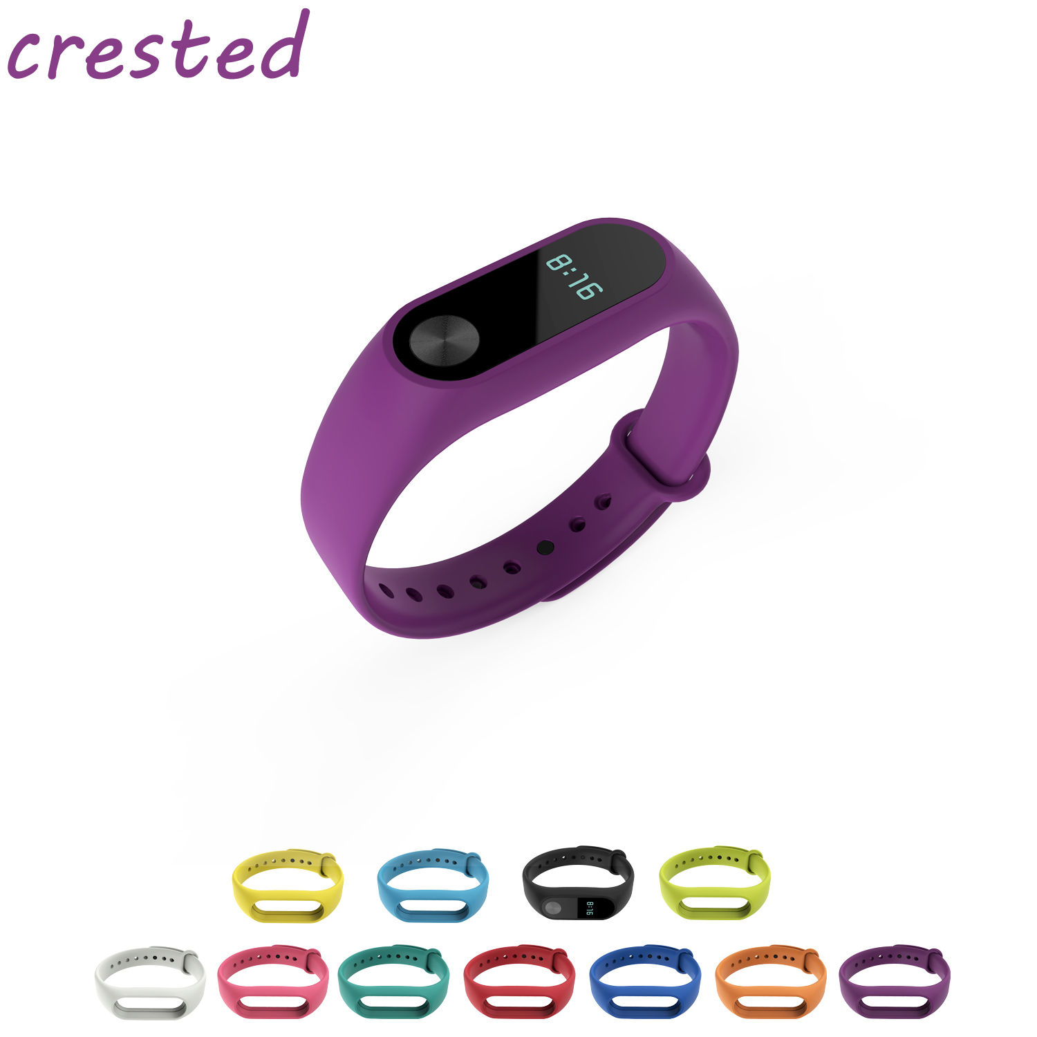 CRESTED Colorful Silicone Wristband Strap for Miband 2 Xiaomi Mi band 2 Wrist bands Bracelet Replacement watchband new fashion original silicon wrist strap wristband bracelet replacement for xiaomi mi band 2 dignity 8 9