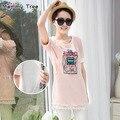 Maternidad divertida camisetas para mujeres embarazadas ocasionales del algodón lactancia materna Tops ropa de verano de maternidad superior de enfermería ropa