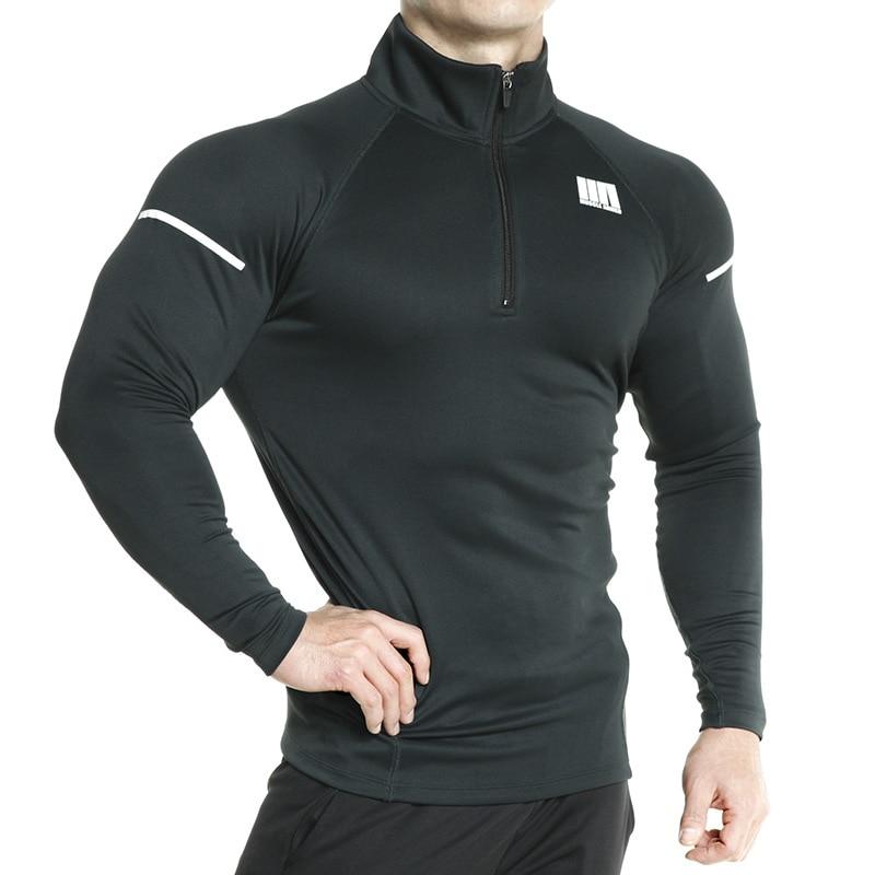 Long Sleeve Men Running Jackets Fitness Outdoor Sports Soccer Football Basketball Gym Tights Jacket Quick Dry Reflective Zipper