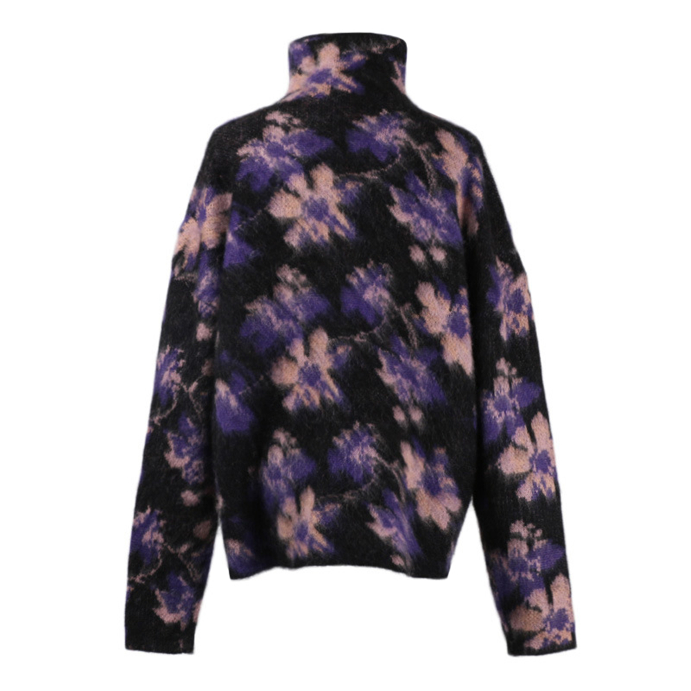 Black Pullover Maglione Mohair Inverno Dolcevita Nuovo Top Knit Allentato Autunno Jacquard Vintage Donne 2018 Fiori Tunjuefs FZUPqn