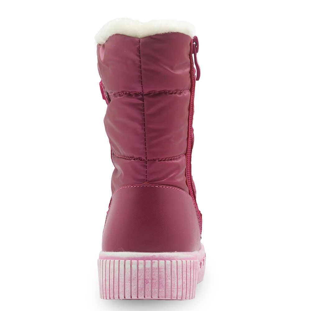 Apakowa Meisjes Laarzen Waterdichte Kinderen Mid-kalf Snowboots Warm Pluche kinderen Schoenen met Zip Winter Platte Schoenen voor Meisjes Eu27-32