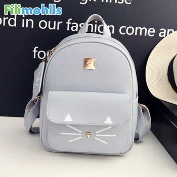 Hot Sale Cat Printing Backpack PU Leather Mini Backpacks Women School Bags for Teenage Girls Bags Children Backpack Bag S1304