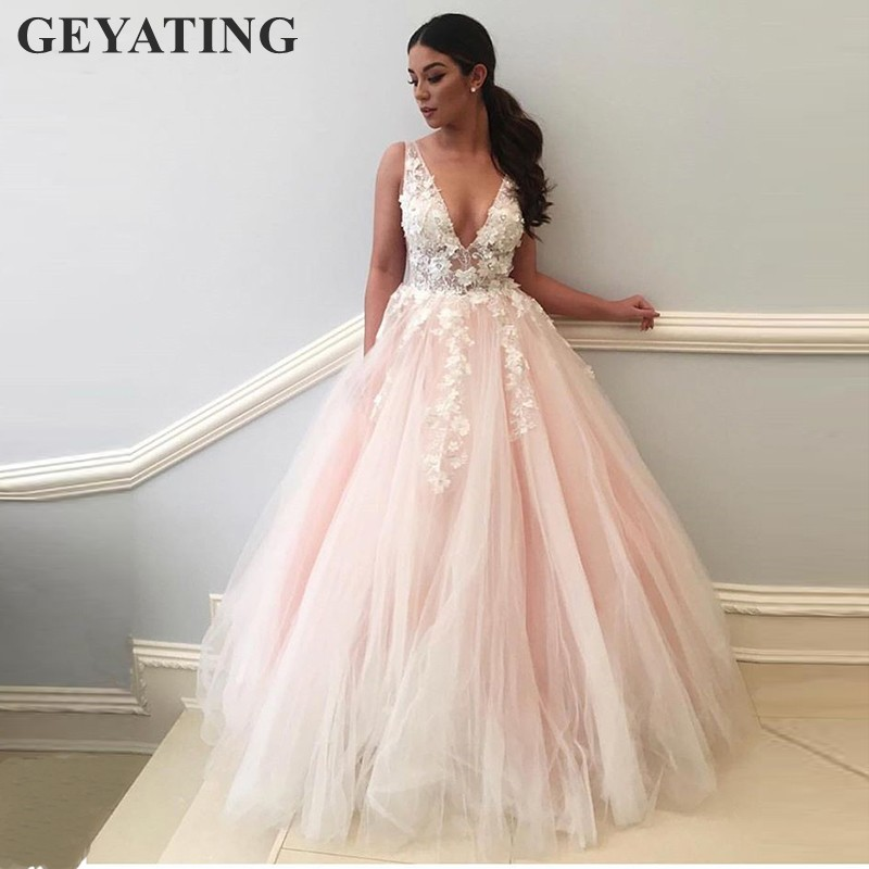 Elegant Long Blush Pink Prom Dresses 2019 V Neck Backless 3D Flowers Lace Tulle Ball Gown Evening Dress Women Formal Party Gowns