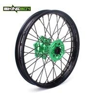 BIKINGBOY 18 MX Motocross Rear Wheel Rim Green Hub 36 Spokes for Kawasaki KX125 KX250 03 13 KX F 250 450 06 17 KLX 450 07 2013