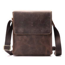Genuine Leather Messenger Bag for Men Crazy Horse Male Shoulder Bag Cross body Handbag Business Briefcase Small Flap Casual Tote brand hand made genuine crazy horse leather small cross body shoulder bag men s messenger bags male waist belt pack for travel