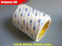 (60mm*50M*0.15mm) 6cm wide, 3M9448 White Double Sided Adhesive Tape for Rubber, Plastic, Foam Surface, Phone Repair, Poster Bond