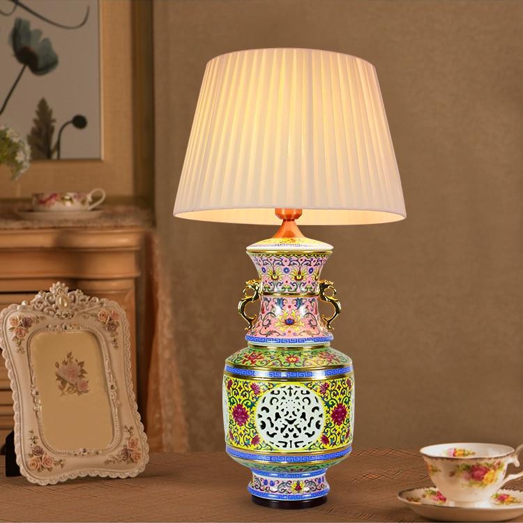 American Ceramic Table Lamp Jingdezhen Binaural Porcelain Desk Lamp For  Living Room Lamp Bedside Mother's Day Gift