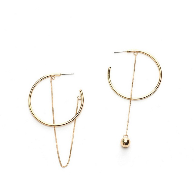 2018 Simple Korean Metal Chain Tassels Asymmetric Earrings for Women Round Circl