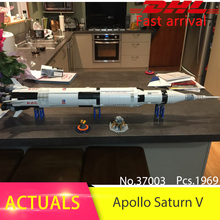 Lepin 37003 1969pcs Creative Apollo Saturn V Launch Vehicle Building Blocks Bricks Toys For Children Compatible 21309 Boys Gift