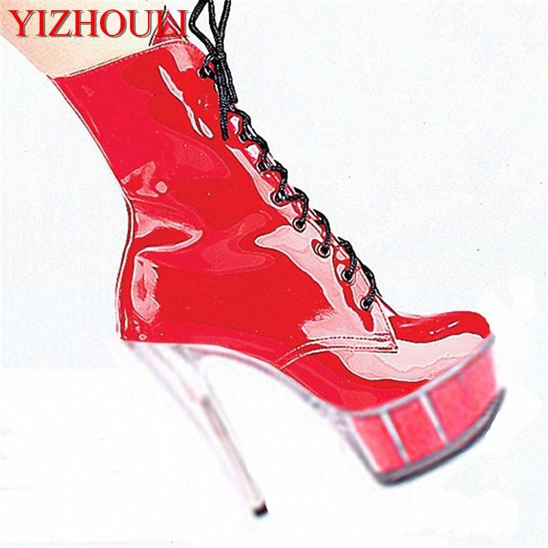 Plates Bottes Lacets Rouge 15 formes Talons Mode Pouce Cm Bas Chaussures Classique Prix Cheville Courtes Hauts Zip Haute 6 À qff6xW41zw