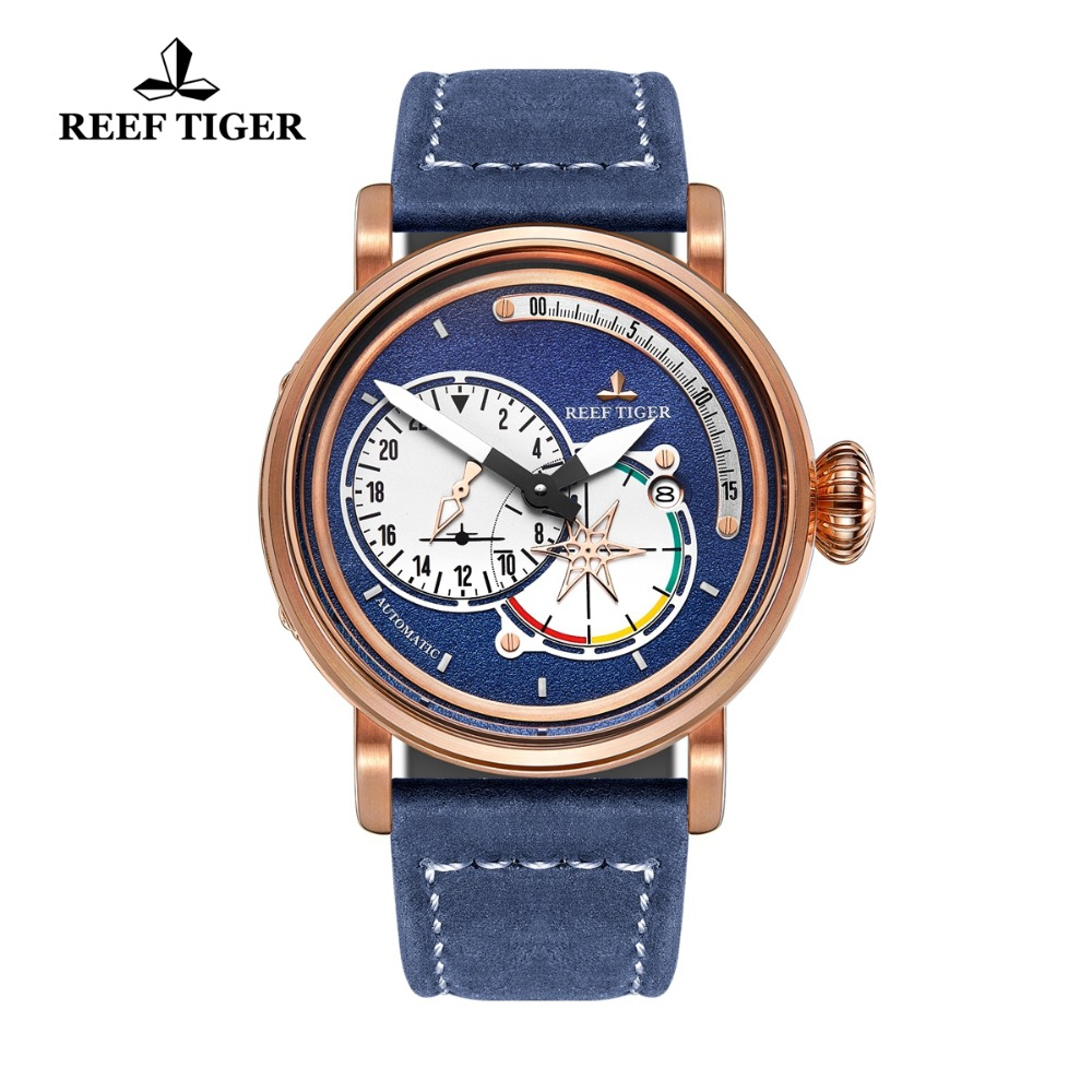 Reef Tiger RT Men s Pilot Watches with Date Leather Strap Rose Gold Blue Dial Watch