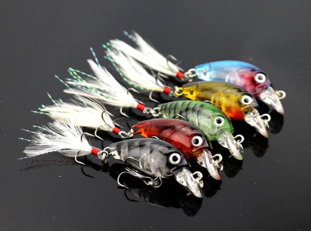 10 pcs MINI Crankbait fishing lures Feather Hooks Crystal crank hooks Bass lure Topwater Small hard plastic minnow (CB028)
