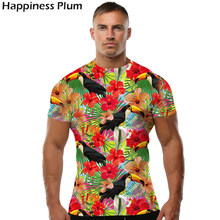 Bird Shirt Flower Shirt Men Short Sleeve 3d Print Tshirt Hip Hop T-shirt Rock Fashion 2017 Brand Clothes High Quality Parrot 4XL(China)