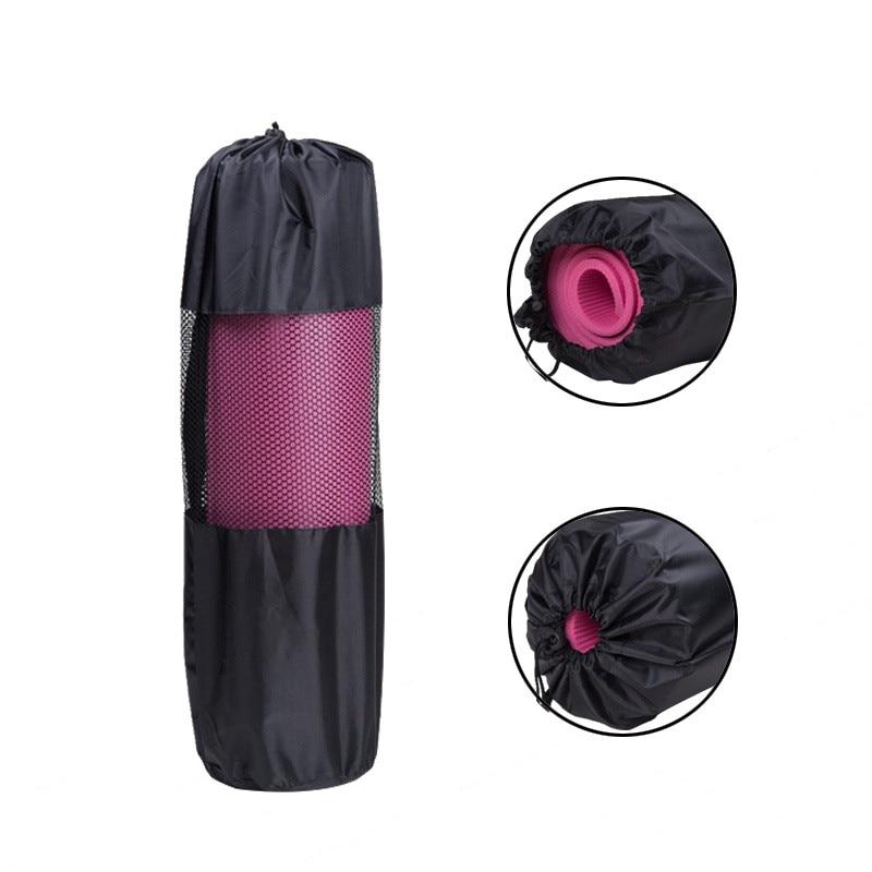 Portable Yoga Mat Bag Nylon Pilates Carrier Mesh Sport Tool Adjustable Strap Style Black Color Bag