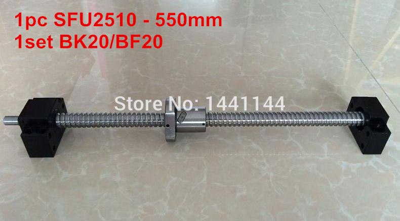SFU2510 - 550mm ballscrew + ball nut  with end machined + BK20 BF20 Support sfu2510 1200mm ballscrew ball nut with end machined bk20 bf20 support