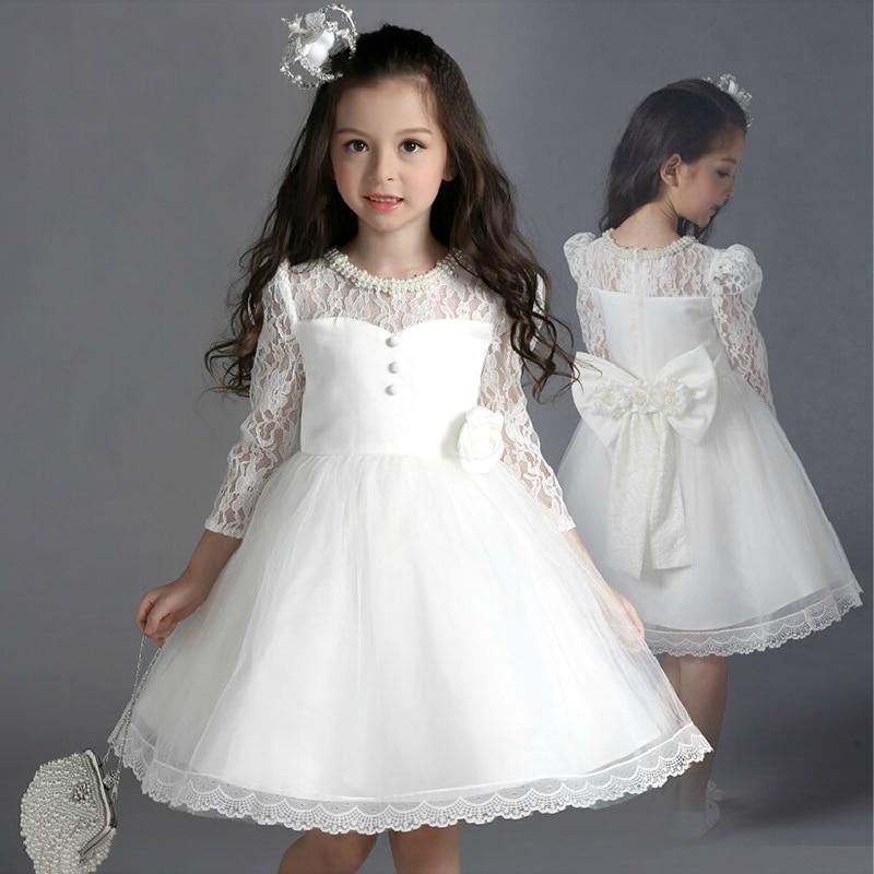 ФОТО royal sweetheart princess dress pearl lace baby girls pageant dress for costume long sleeve A-line bow flower girl dresses