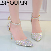 5374cca8bfc59 Women Wedding Shoes Sweet Crystal Shoes for Bride Shoes Princess Water  Drill Dress Shoes High Heels