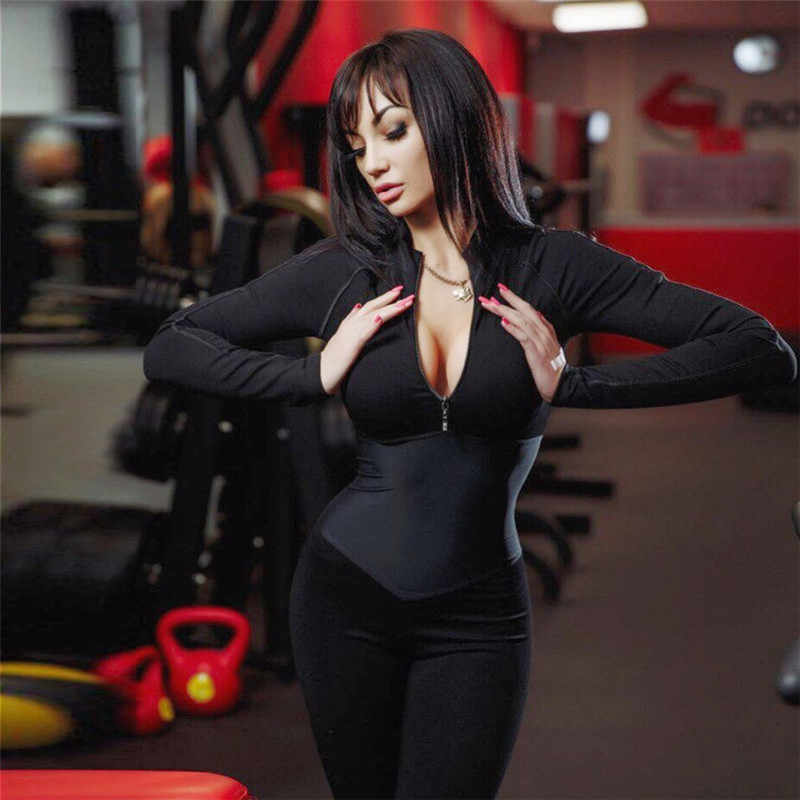 8b133fe54280 Women Yoga Sets Gym Wear Running Clothes Tracksuit Sexy Ensemble Sportswear  Zipper Long Jumpsuits Fitness Set