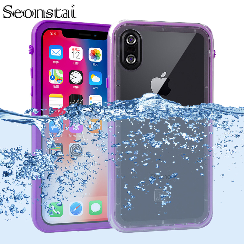 360 Full Protector for Apple iPhone X Case Clear Back Swimming Diving Cover for iPhone 7 8 Plus Watertight Waterproof Coque in Fitted Cases from Cellphones Telecommunications