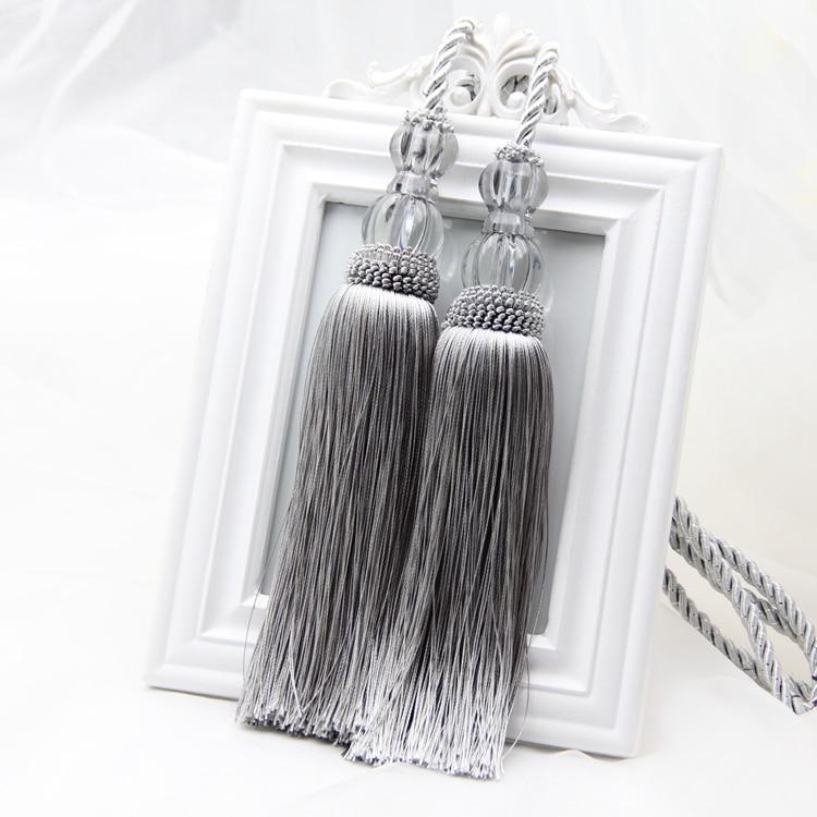 Perdele de tip Europa cu cârlig atârnată bilă talpă cu perete cârlig cu ciucuri curea de atârnare cu frânghie lob de culoare gri