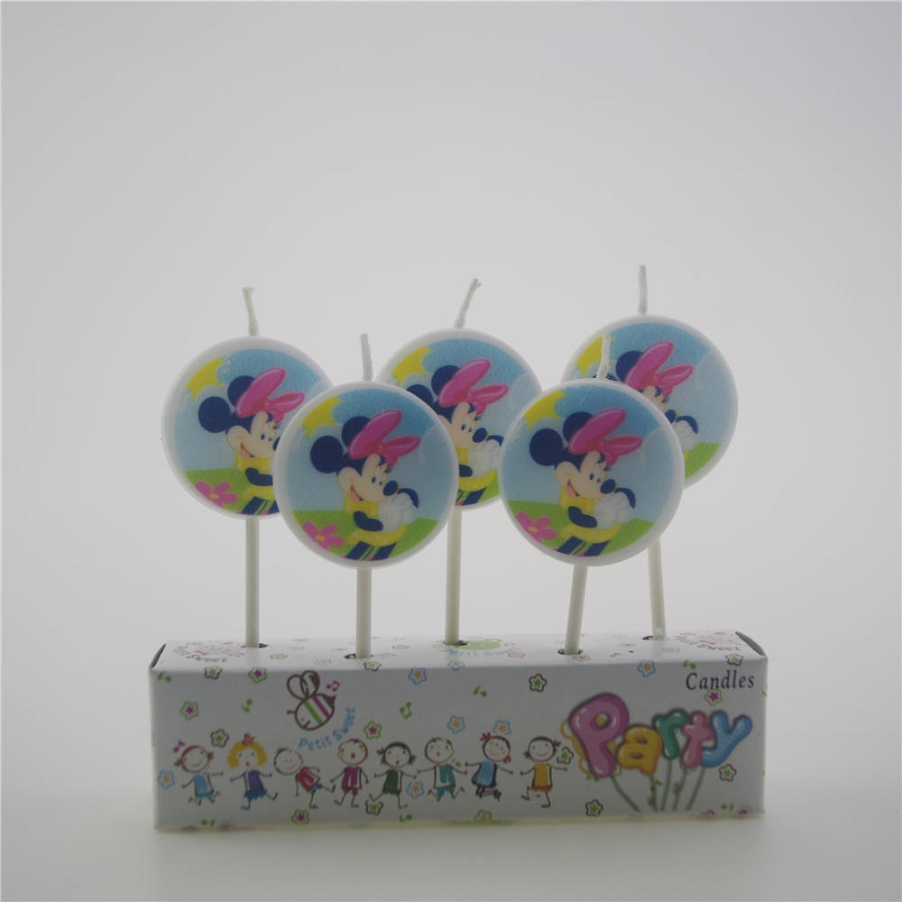 5pcs/pack Minnie Mouse kids birthday decor cartoon candles kids girls cake bougie accessories event party supplies