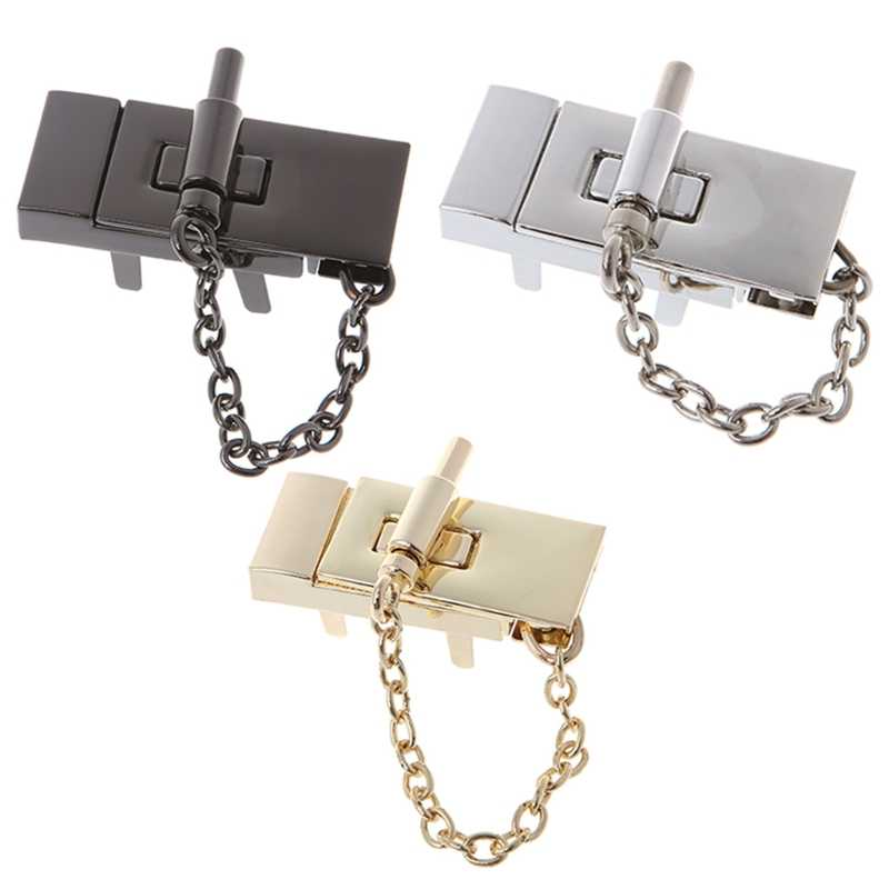THINKTHENDO Rectangle Handbag Twist Lock DIY Craft Bags Clasp Metal Buckle Switch Button Gold/Silver/Black