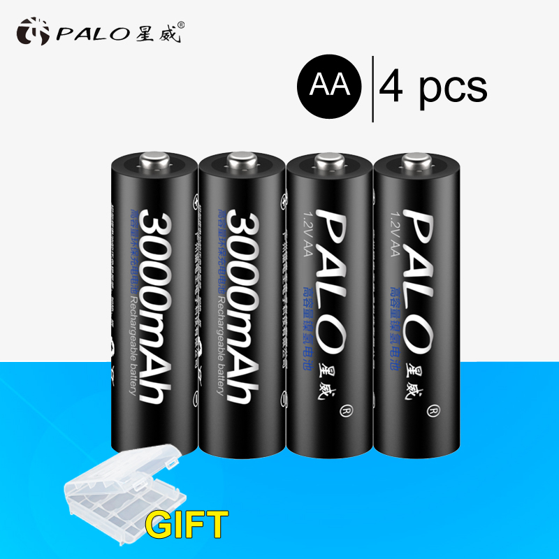 8 piezas 100% PALO batería original 3000 mAh baterías recargables NiMH AA, alta calidad, juguetes, cámaras linternas y batería