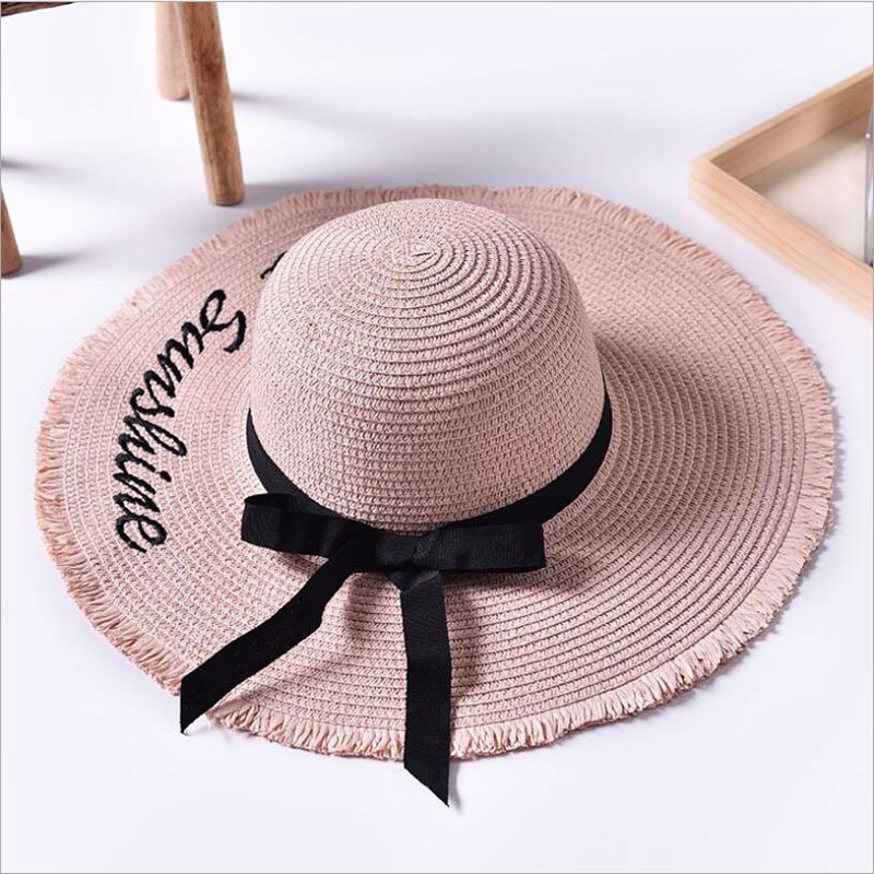 Ymsaid Wide Brim Sun Hats For Women Letter Embroidery Black Bow Panama  Straw Hat Folded Floppy Beach Ladies Caps Chapeu Feminino-in Sun Hats from  Women s ... 27544ae3e5d7